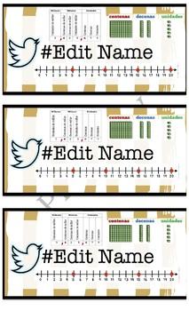 Student Nameplates Editable Bilingual *Spanish*