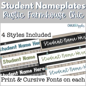 Student Nameplates - Rustic Farmhouse Chic