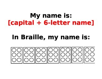 Student Names in Braille Template