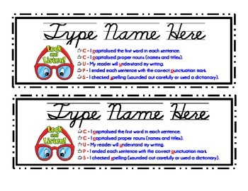 Student Nametags (with proofreading checklist)