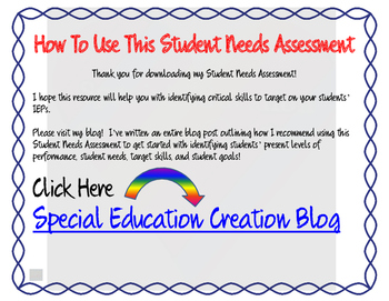 Student Needs Assessment