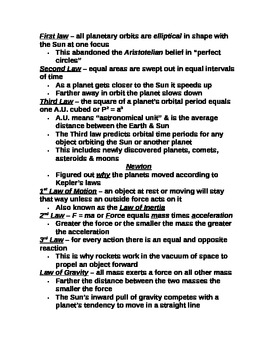 "Student Note Guide PPT Unit I Lesson III ""Birth of Modern Astronomy"""