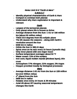 """Student Note Guide PPT Unit IV Lesson II """"Earth & Mars"""""""