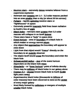 "Student Note Guide PPT Unit VIII Lesson III ""Stellar Explosions & Remnants"""