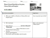Student Note Sheet on Great West African Empires: Ghana, M
