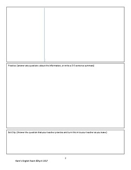 Student Note and Assignment Template