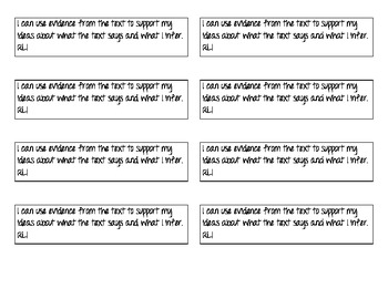 """Student Notebook CCSS Reading Literature """"I Can"""" Strips"""