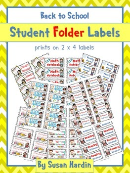 "Student Notebook / Folder Labels (size 2"" x 4"")"