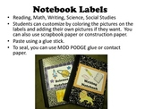 Student Notebook Labels School Themed