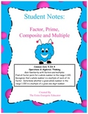 Student Notes: Factor, Prime, Composite and Multiple