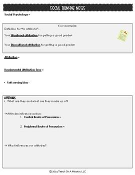 Student Notes & Flipped Videos: Social Psychology Unit for AP Psychology