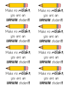 Student Notes:  Make No Mistake, You are an awesome student!