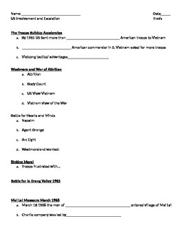 Student Notes Page Vietnam War: Weapons, Tactics, Battles, and the War at home