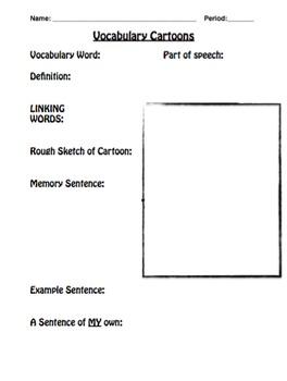 Student Notes for Vocabulary Cartoons