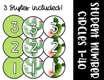 Student Number Circles - Cactus - Succulent Theme - Classroom Decor