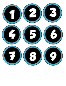 Student Number Circles Labels 1-36