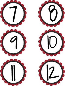 Student Number Labels 1-30