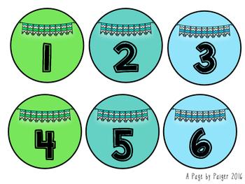 Student Number Labels - Brights: Green, Teal, & Aqua 1-36