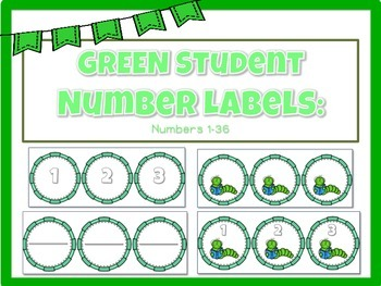 GREEN Numbered Labels