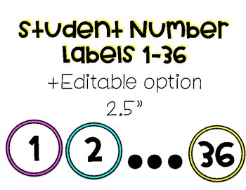 Student Number Labels (with editable option)