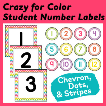 """Student Number Pack in """"Crazy for Color"""" Stripes, Dots, and Chevron"""