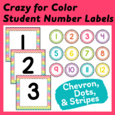 Student Number Labels in Colorful Chevron, Dots & Stripes