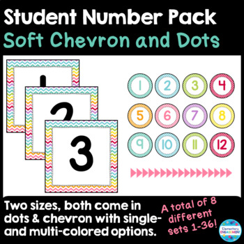Student Number Labels in Soft Chevron & Dots