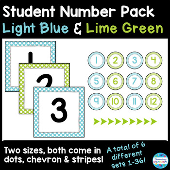 Student Number Labels in Light Blue and Lime Green