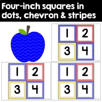 Student Number Pack in Primary Colors - Yellow, Blue, and Red