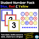 Student Number Labels in Primary Colors - Yellow, Blue, and Red