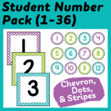 Student Number Labels in Purple, Lime Green, and Turquoise