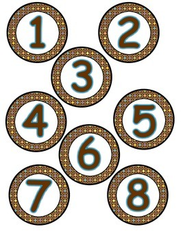 Student Numbers (Brown Multi Colored Chevron and Polka Dot Grid)