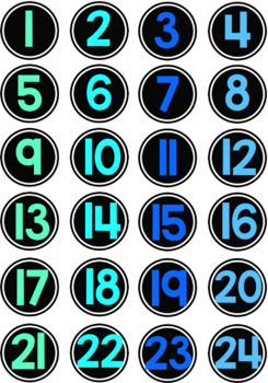 Student Numbers Chalkboard *Small Circles* *Blue and Green*