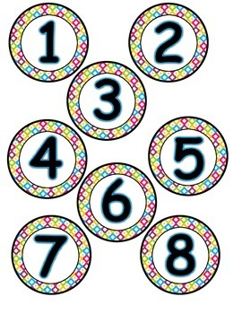 Student Numbers (Multi Colored Chevron and Quatrefoil)