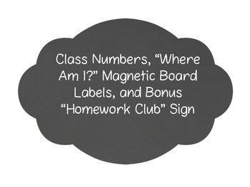 """Student Numbers for """"Where am I?"""" Magnetic Board- Two Color Options"""