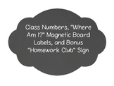 """Student Numbers for """"Where am I?"""" Magnetic Board- Two Colo"""