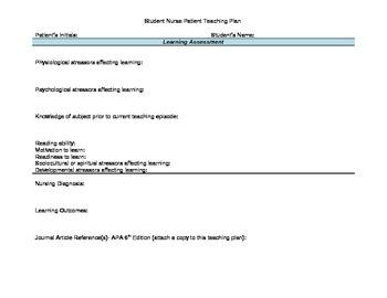 Student Nurse Patient Education Plan