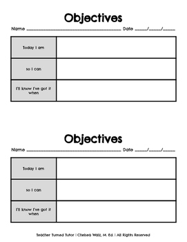 Student Objectives Sheet