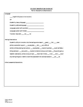 Student Observation Checklist