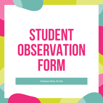 Student Observation Form