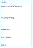 Student Observation Form - English