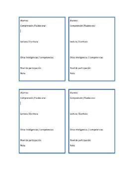 Student Observation Form - Spanish / Hoja de observacion