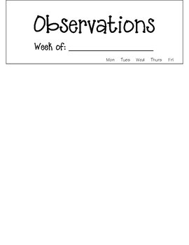 Student Observation Forms