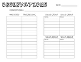 Student Observation Recording Sheet