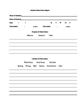 Student Observation Report