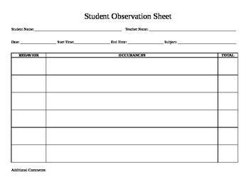Student Observation Sheet