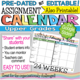 Student Online Planner - Assignment Calendar - Google Doc Template Editable