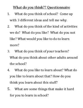 Student Opinion about school questions