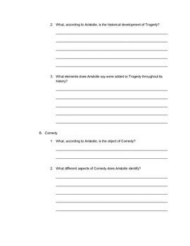 Student Outline Worksheet Packet for Aristotle's Poetics