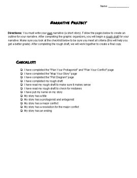 Student Package to Write your Own Narrative! Short Story Planner